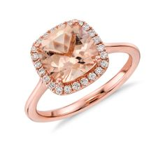 Blue Nile Morganite and Diamond Halo Cushion Ring in 14k Rose Gold.