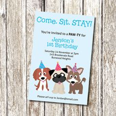 Puppy Party Invitation.  come, sit, STAY - Printable and Personalised on Etsy, $12.04