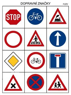 Dopravni znacky Transportation Activities, Preschool Activities, Safety Signs And Symbols, Drawing For Kids, School Fun, School Projects, Kids And Parenting, Diy For Kids, Kids Learning