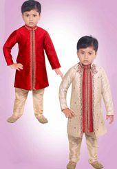 Red Art Silk Jacquard Readymade Kurta Pajama with Jacket