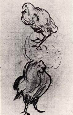 Sketches of a Hen and a Cock, 1890 Vincent van Gogh