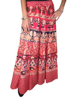 Womens Maxi Skirt Red Ethnic Printed Indie Designer Hippie Boho Beach Long Skirts