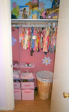 My Nursery   Organized closet  Just make it Tan and red instead of the pink.
