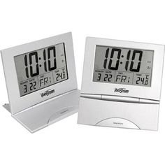 """This large 8 1/2"""" x 9 1/2"""" digital clock can be hung on the wall or placed on your desk with the fold-out base. The large LCD screen displays the time in either 12 or 24 hour format with easy to read 2 1/2"""" tall numbers, a perpetual calendar good through the year 2030 displaying date, day of the week, and temperature in either Fahrenheit or Celsius. Audible alarm with snooze control. Operates on 3 AAA batteries (not included)."""