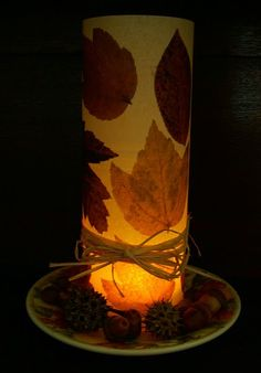 Autumn leaf votive lamp