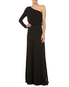 Long-Sleeve+One+Shoulder+Gown,+Black+by+Halston+Heritage+at+Neiman+Marcus.
