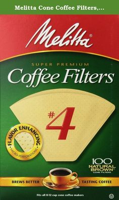 Melitta Cone Coffee Filters, Natural Brown, No. 4, 100-Count Filters (Pack of 12). Thicker, textured, high quality paper with patented flavor enhancing micro perforations, traps harmful oils & bitter sediment to deliver the full taste and aroma of your coffee to your cup! An added extra crimp for additional strength, prevents filter bursts and provide safe, easy disposal. Made from unbleached paper pulp for today's demand for environmentally safe, natural products, Melitta makes annual...
