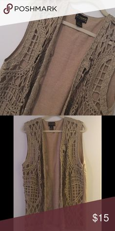 CROCHE VEST LOVE THIS BEAUTY! SUCH A PRETTY VEST TO WEAR ON A EVENING OUT.  HAS A PRETTY SHINE TO IT.  SIZE MEDIUM. Jackets & Coats Vests
