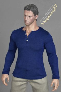 1/6th scale long sleeve dark blue XXL henley shirt with 4 handmade tiny buttons for Hot Toys TTM 20 and similar XXL size collectible figures