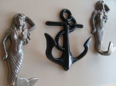 2 mermaids, anchor beach home decor spring storage and organization, hooks and fixtures on Etsy, $35.00