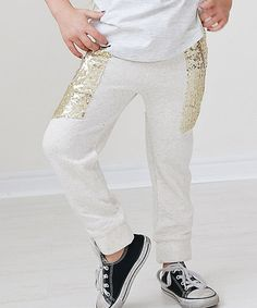 Another great find on #zulily! Gold & Cream Sequin Pocket Joggers - Toddler & Girls #zulilyfinds