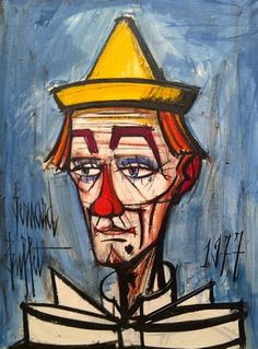 Bernard Buffet Recommended by RAFO, Galleria Morcote & swissartgroup Broken Heart Drawings, Image Halloween, Illustrator, Clown Paintings, Pierrot, Images Vintage, Edvard Munch, Pin Art, Circus Theme