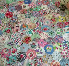 Vintage hankie hexies from HenHouse: Busy Bee