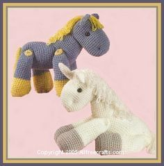 Here's a great free crochet pattern that shows how to make a crocheted horse or unicorn - just need to learn how to crochet. - I just need to find some pink yarn and add some wings:)