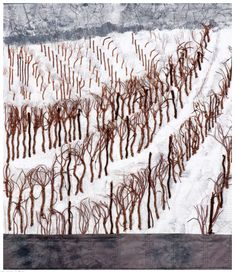 December - In the vineyard, 90 x 78 cm, 2012 Small Art, Textile Art, Vineyard, Tapestry, Snow, Quilts, Landscape, Bliss, Stitching