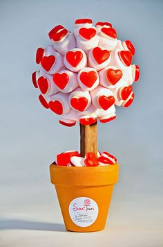 Red Haribo Heart Marshmallow Tree by Sweet Trees, the perfect gift for Explore more unique gifts in our curated marketplace. Marshmallow Tree, Candy Trees, Strawberry Hearts, Sweet Carts, Bar A Bonbon, Sweet Trees, Chocolate Bouquet, Chocolate Chocolate, Candy Bouquet