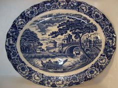 Vintage Transferware Blue and White Staffordshire Oval Wall Plate Castle Scene   eBay