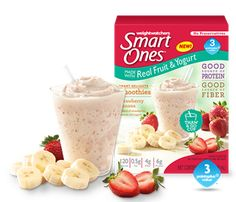 Smart Ones® Strawberry Banana or Mixed Berry Smoothie, cream cheese, whipped topping, fruit Best Frozen Meals, Healthy Frozen Meals, Healthy Recipes For Weight Loss, Healthy Drinks, Healthy Eating, Weight Watchers Smart Ones, Weight Watchers Meals, Strawberry Banana Muffins, Diet Aids