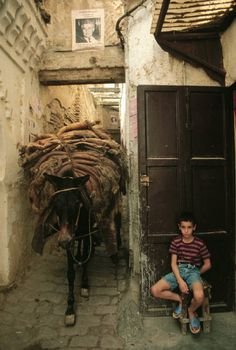 Old city (Medina). Alleys are closed to traffic as they were made just the size of a mule 1984 Moroccan Art, Moroccan Style, Marrakech, Casablanca, Morocco Travel, Le Far West, Old City, North Africa, World Cultures