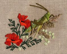 GRASSHOPPER embroidery kit. Via canevasfollies.ch