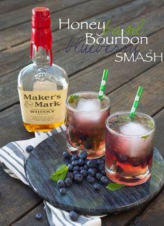 Honey Basil Bourbon Blueberry Smash