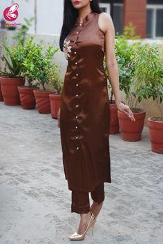 Buy Brown Satin Sleeveless Front Slit Kurti Set by Colorauction - Online shopping for Kurti Sets in India Dress Indian Style, Indian Outfits, Collar Kurti Design, Front Slit Kurti, Churidhar Designs, Silk Kurti, Indigo Prints, Salwar Designs, Silk Pants