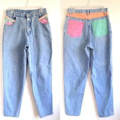 """✨On Sale Was $45✨Vintage high waist mom style jean with pastel pockets tag size 12. It does have a stain on the back not noticeable may come out in wash! (Check out other photos for picture). *Please measure carefully to ensure proper fit* Measurements: Waist - 28"""" Hip - 41"""" Crotch to waist - 11.5"""" $20+shipping PM me """"SOLD"""" with email US only. Once invoice is sent it must be paid within 1 hour* #americanapparel #pastel #unifdupe #unif #vintage #momjeans #lazyoaf #90s #80s #highwaisted…"""