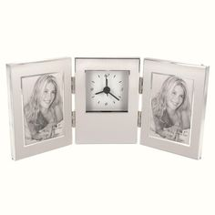 Find Personalized Tri-Fold Photo Frame w/ Clock at Wholesale Favors, along with other wedding favors and personalized gifts. Unique Party Favors, Inexpensive Wedding Favors, Personalised Gifts For Him, Customized Gifts, Engraved Picture Frames, Anniversary Favors, Picture Engraving, Parent Gifts, Tri Fold