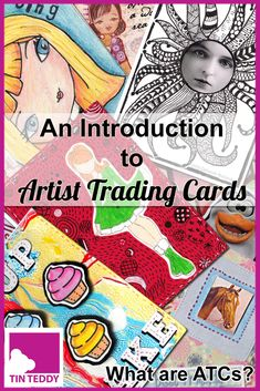 Introduction to Artist Trading Cards – What are ATCs? What are Artist Trading Cards (ATCs)? Here is an introduction to this popular and fun art form. via Tin Teddy Art Quotes Artists, Music Artists, Atc Cards, Journal Cards, Greeting Cards, Easy Art Lessons, Art Trading Cards, Artist Card, Camping Crafts
