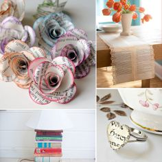 crafts for old books - some of these are dumb, but i like the coasters and the charging station
