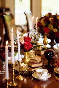 Beauty And The Beast Wedding Dresses, Wedding Beauty, Wedding Blog, Our Wedding, Wedding Ideas, Fairytale Hair, Red Rose Wedding, Gold Wedding Decorations, Beautiful Flower Arrangements