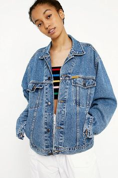 Shop Urban Renewal Vintage Denim Trucker Jacket at Urban Outfitters today. Bomber Jacket Winter, Urban Outfitters, Shirt Embroidery, Jackets For Women, Clothes For Women, Winter Coats Women, Vintage Denim, Summer Wardrobe, Urban Renewal