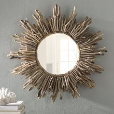 Shop a great selection of Sunburst Traditional Accent Mirror Beachcrest Home. Find new offer and Similar products for Sunburst Traditional Accent Mirror Beachcrest Home. Coastal Mirrors, Coastal Decor, Rustic Decor, Farmhouse Decor, Drift Wood Decor, Beach House Decor, Diy Home Decor, Beach Houses, Potted Ferns