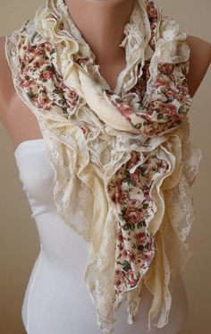 Beige  Light Yellow Lace and Cotton Scarf  Summer by SwedishShop, $23.90