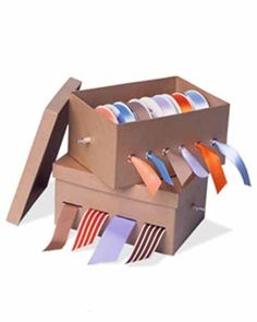 Ribbon Organiser Perhaps it's time to graduate from the shopping-bag school of organisation. Ribbons will stay untangled and ready to use in this easily made box (a shoebox will do). Ribbon Box How-To Storage Room Organization, Ribbon Organization, Ribbon Storage, Home Organisation, Craft Room Storage, Craft Rooms, Storage Boxes, Ribbon Box, Diy Ribbon