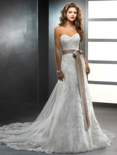 Mermaid Sweetheart Chapel TrainLace Wedding Dress With Sash