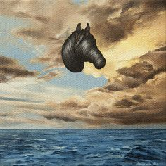 Veil by artist, Amy Guidry. Acrylic on canvas, 6 inch by 6 inch.  #horse, #ocean, #sky, #clouds, #surreal, #surrealism, #vegan