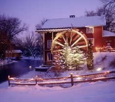waterwheel in the snow