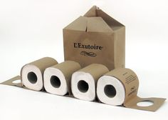 100 % ecological, the packaging of this toilet paper looks great, it's almost a contemporary decoration! In addition, it's a very simple arrangement. Giving the feeling of  environmentally friendliness and naturalness. The functionality of the pack is also remarkable, as it is designed so that paper rolls can be hang on a hook.