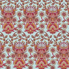 """Deer Me"" in Strawberry -- premium woven quilting-weight cotton fabric from the Moon Shine collection by Tula Pink"