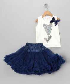 a look at this Yuli n' Grace Navy Flower Tank & Pettiskirt - Toddler & Girls by Yuli n' Grace Couture & Pretty Chic on today!Take a look at this Yuli n' Grace Navy Flower Tank & Pettiskirt - Toddler & Girls by Yuli n' Grace Couture & Pretty Chic on today! Little Girl Dresses, Girls Dresses, Flower Girl Dresses, Flower Girls, Little Girl Fashion, Kids Fashion, Dressy Tops, Kind Mode, Baby Dress
