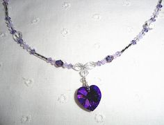 Beautiful Purple Heart Necklace with Swarovski Crystals / Valentines Heart Jewelry
