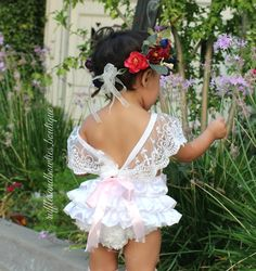 Amy White Vintage Lace 6 Month & First Birthday White Ruffle Romper - Smash Cake Romper - Baby White Lace V Back Romper - Baby Girl - Ruffles & Bowties Bowtique - 12 - May 04 2019 at Baby Girl First Birthday, First Birthday Outfits, Birthday Dresses, Baby Girl Birthday Outfit, Girls Birthday Parties, Birthday Ideas, Ruffle Romper, Baby Girl Romper, Baby Dress