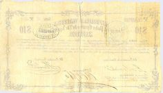 Pieza brv10ps-aa01c2-b4 (Reverso). Billete de la República de Venezuela. 10 Pesos sencillos. Diseño A, Tipo A. Provincia de Yaracuy. Fecha Noviembre 25 1860. Serie B4