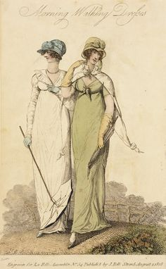 Morning Walking Dresses, fashion plate, hand-colored engraving on paper, published by John Bell in La Belle Assemblie, London, August, 1808.