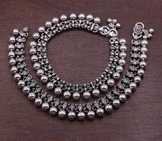 Silver Ankle Bracelet, Foot Bracelet, Silver Anklets, Ankle Bracelets, Jewelry Bracelets, Tribal Jewelry, Silver Jewellery, Leather Jewelry, Indian Jewelry