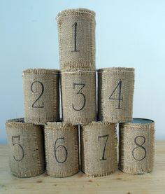 Upcycled tin can table number and cutlery holders