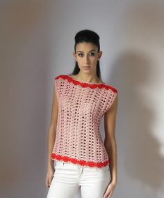 Crochet summer tank top with lace pattern - Handmade - Pink and red - Cotton - elegant and romantic - Size S/M - Top Blouse Shirt  ☆ Ready to ship.