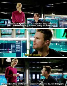 """I'm just listing all the terrible ideas you've had over the past three years"" - Oliver & Felicity #Arrow"