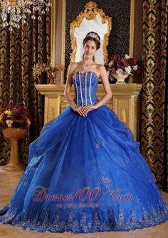 Royal Blue Ball Gown Sweetheart Floor-length Appliques Organza Quinceanera Dress